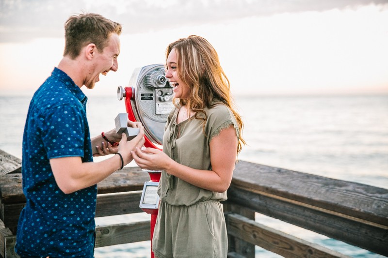 Image 1 of Jamie and Jacob's Crazy Cute Proposal on the Newport Beach Pier
