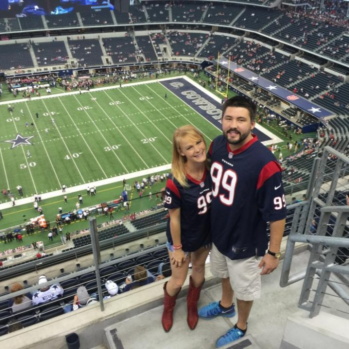 Texans vs Cowboys at the Lonestar Showdown! Yes - We're Texans Fans!