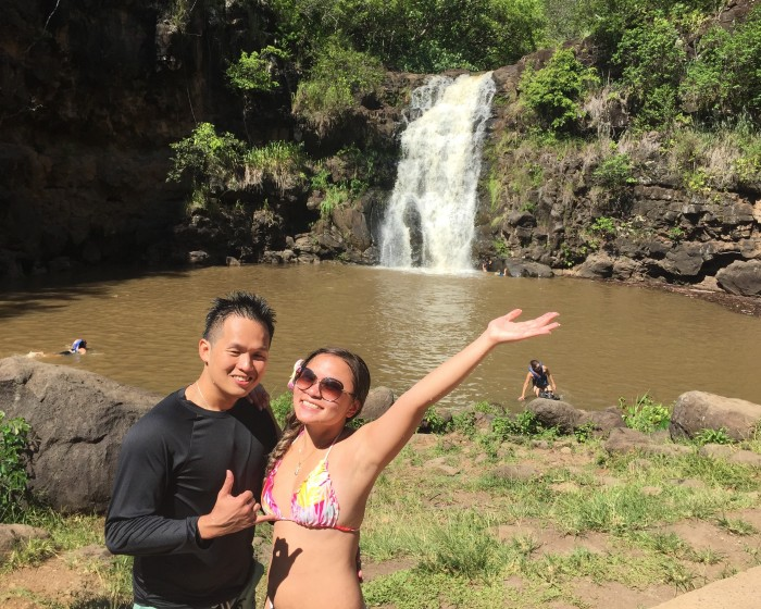 """Waimea Falls, the picture from my iPhone before he """"insist"""" on taking a picture with the GoPro"""