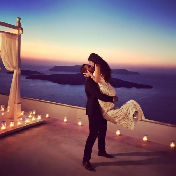 This Santorini Marriage Proposal Might be the Prettiest We've Ever Seen