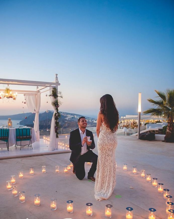 This Santorini Marriage Proposal Might Be The Prettiest Weve Ever Seen