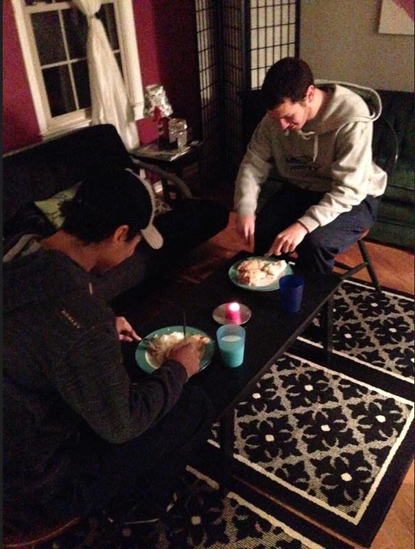 Lucas (right) and Cary eating a dinner that my friends and I had prepared for the boys at our house