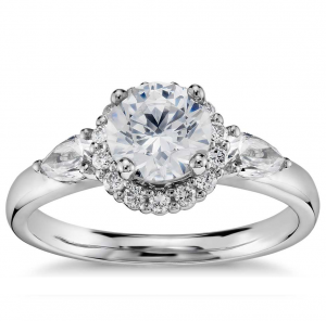 Truly Zac Posen Halo Diamond Engagement Ring