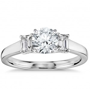 Truly Zac Posen Three-Stone Emerald-Cut Diamond Engagement Ring