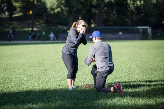 Image 3 of Jessica and Adam's Softball Proposal in Central Park