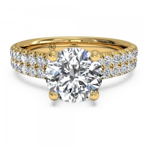 Double French-Set Band Engagement Ring