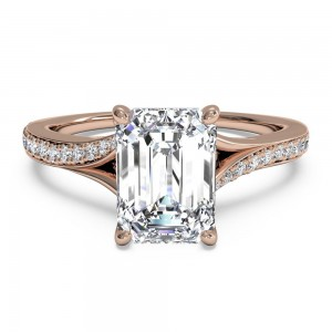Modern Bypass Micropavé Diamond Band Engagement Ring