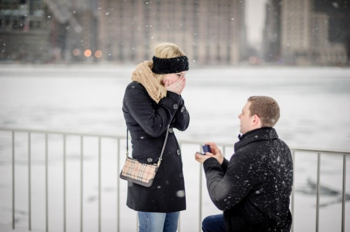 HowHeAsked Winter Proposals in Chicago Hearts on Fire