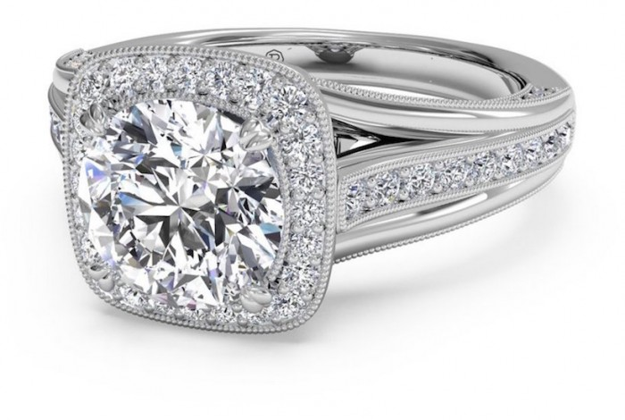 Milgrain vaulted cushion halo engagement ring