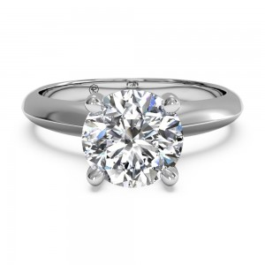 Solitaire Diamond Knife-Edge Engagement Ring