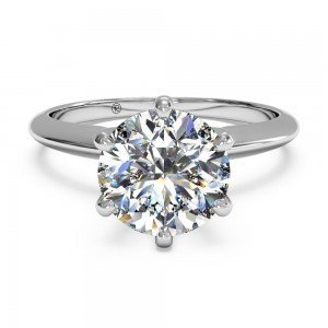 Solitaire Six-Prong Knife-Edge Engagement Ring