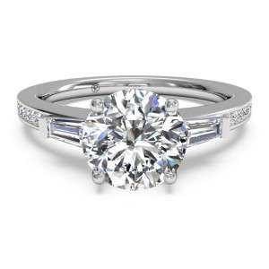 Tapered Baguette Diamond Band Engagement Ring