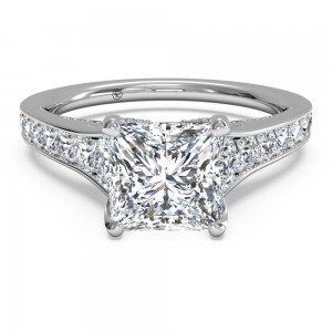 Tapered Pavé Diamond Band Engagement Ring