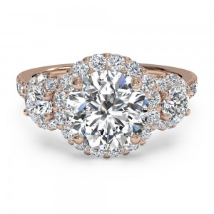 Three-Stone Halo Diamond Engagement Ring