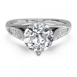 Vintage Tulip Diamond Band Engagement Ring