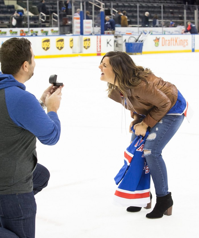 Surprise Marriage Proposal at a Rangers Game