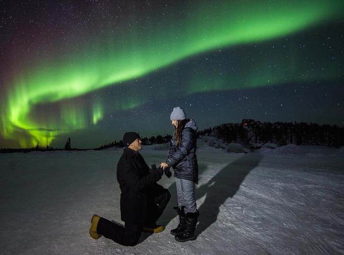Alyssa And K Sean S Proposal Under The Northern Lights