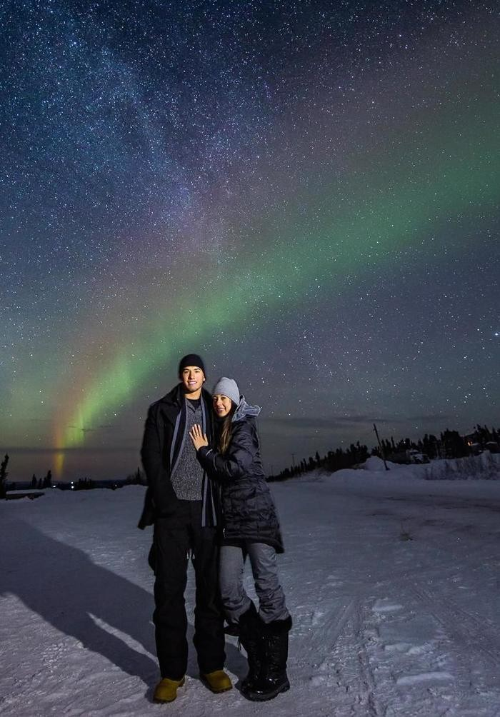 Image 4 of Alyssa and K Sean's Proposal Under the Northern Lights