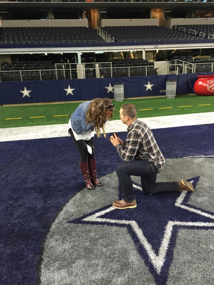 Proposal at the Dallas Cowboys Stadium