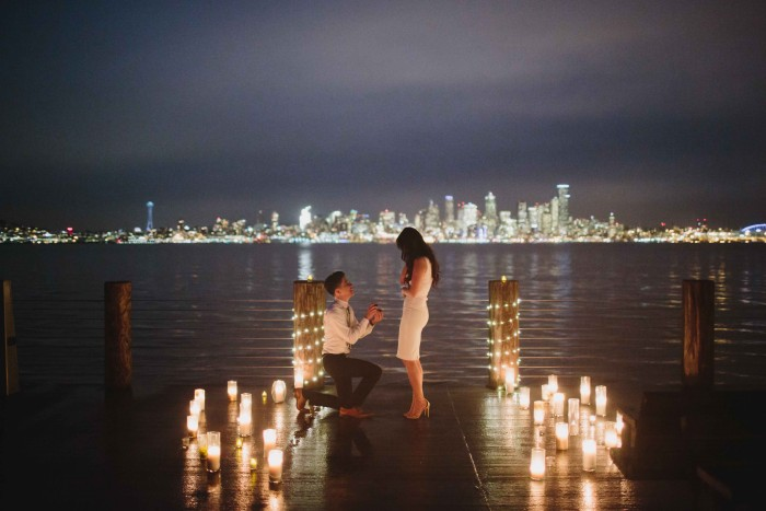 Adrienne And Spencers Romantic Proposal At Alki Beach