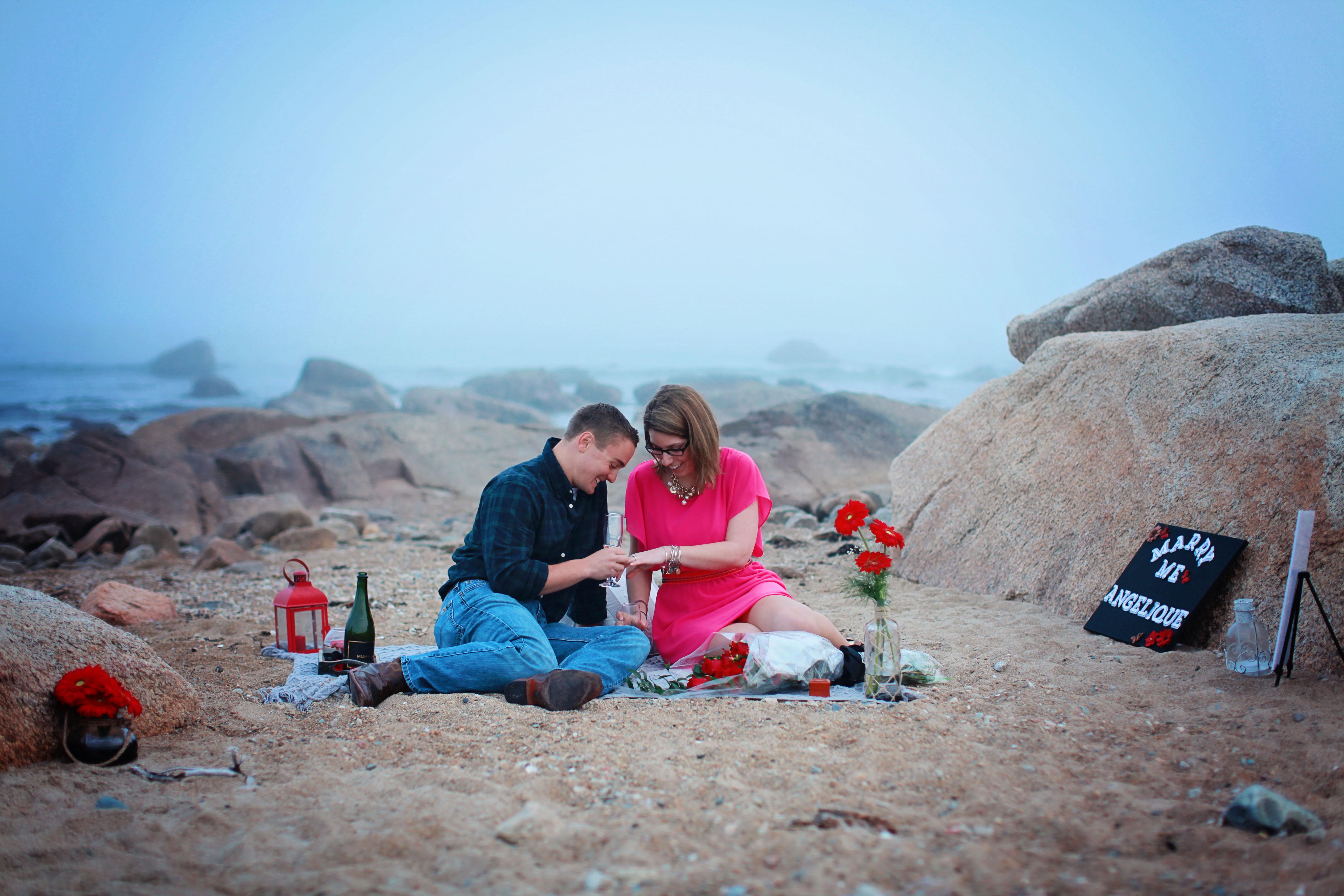 Engagement Proposal Ideas in Elephant Rock Beach in Westport, MA