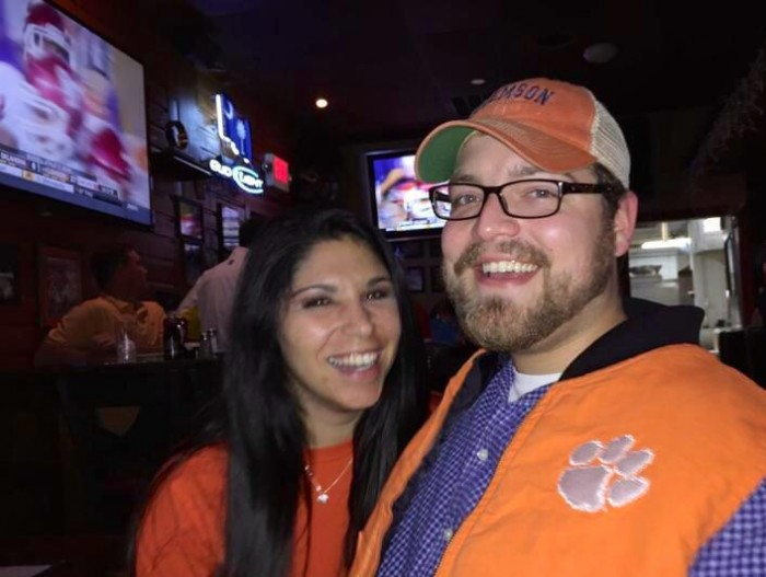 Wearing our Clemson orange! Go Tigers!