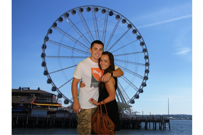 Our first date, he took me to the Ferris wheel in downtown Seattle!