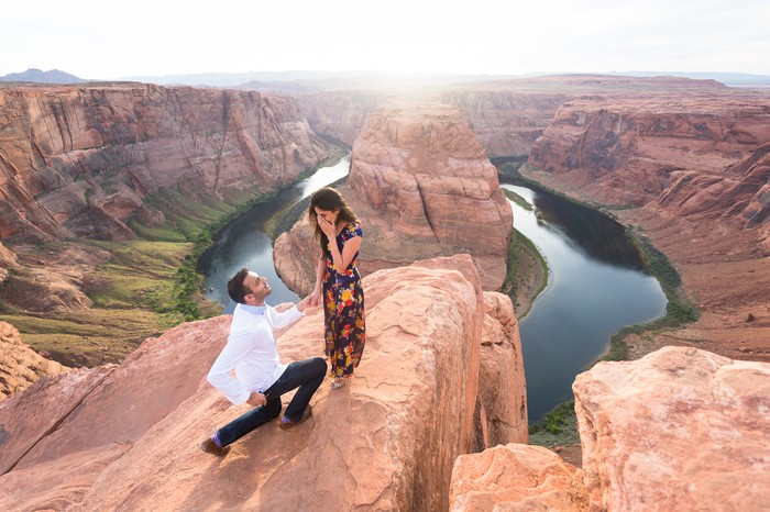 Marriage Proposal at Horseshoe Bend in Grand Canyon