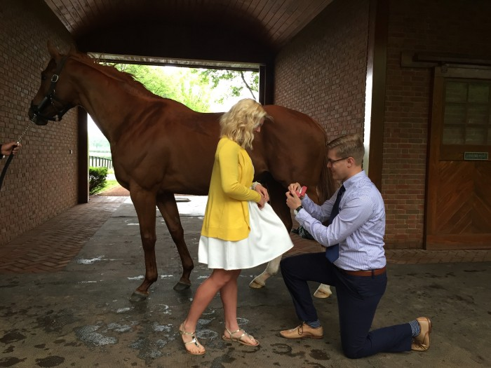 Nick proposing in front of Curlin at Hill N' Dale Farms.