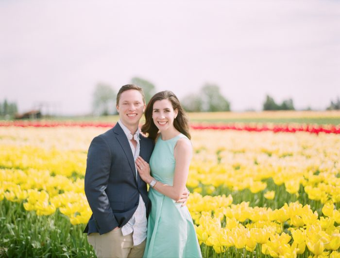 Image 1 of David and Sofia's Sweet Proposal in a Tulip Field