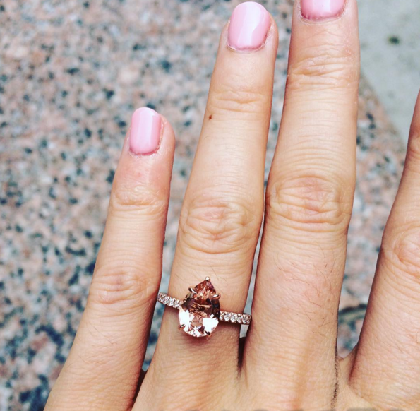 Pear-shaped morganite engagement ring