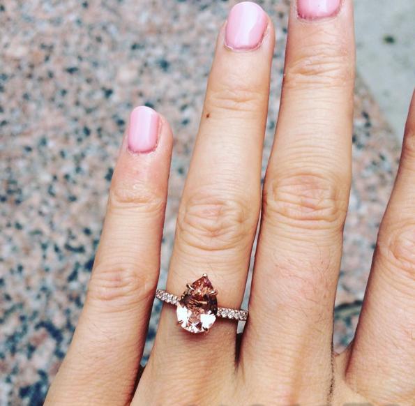 Pear-shaped morganite engagement ring