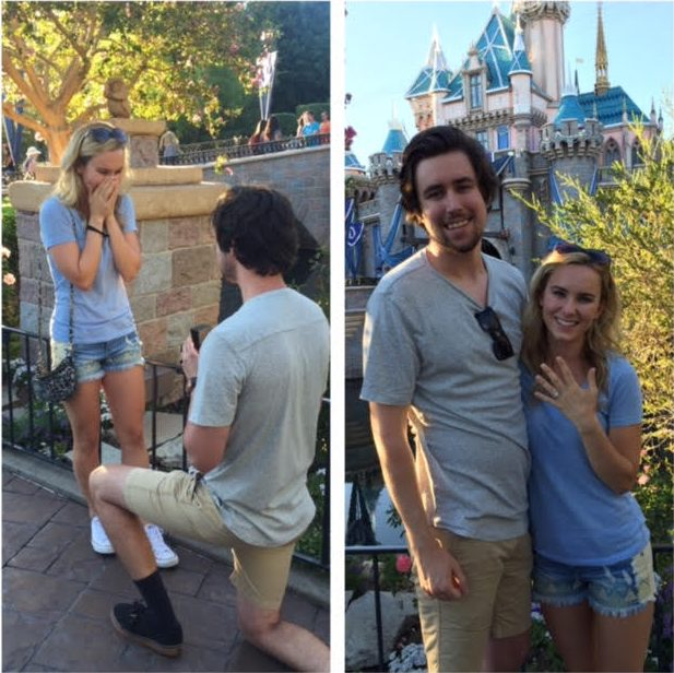 Hanna and Derek's Engagement in Disneyland in front of the castle