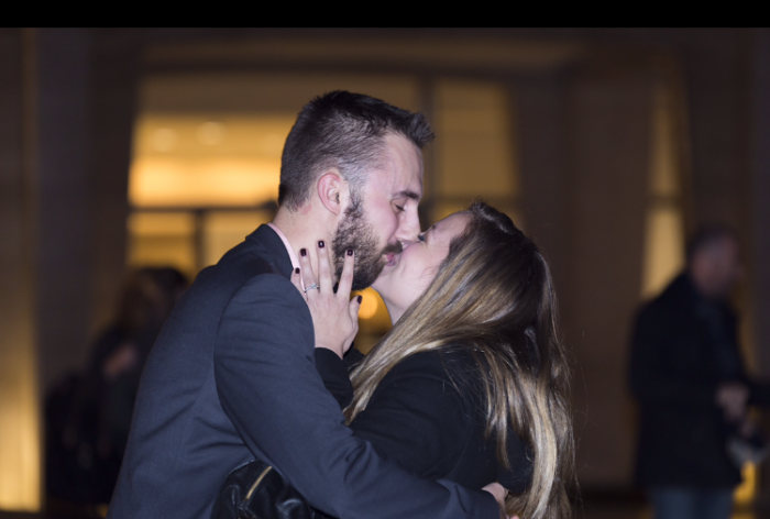 Wedding Proposal Ideas in Lincoln Center fountain after a NYC ballet performance