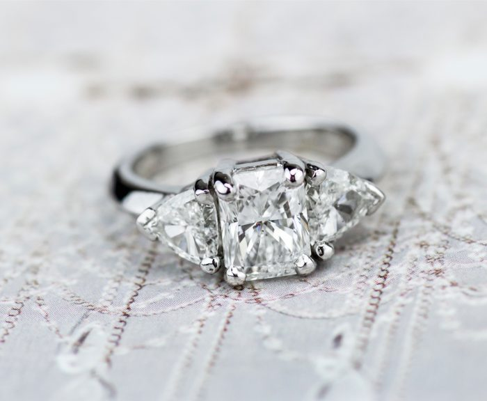 three stone vintage engagement ring