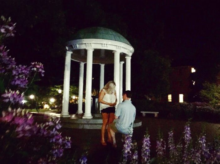 Savannah and Alex De's Engagement in UNC Chapel Hill at the Old Well