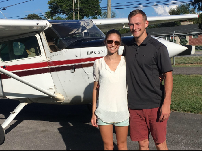Hannah and Zack's Engagement in In an airplane