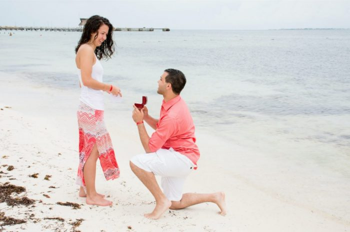 Kristyn's Proposal in on the beach of Villa del Palmar in Cancun, Mexico