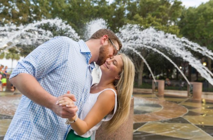 Wedding Proposal Ideas in Charleston, SC. In front of the Pineapple Fountain