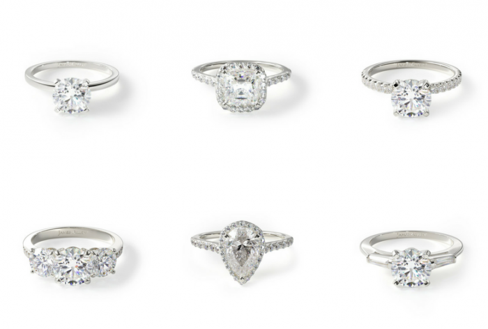 Classic and halo engagement rings