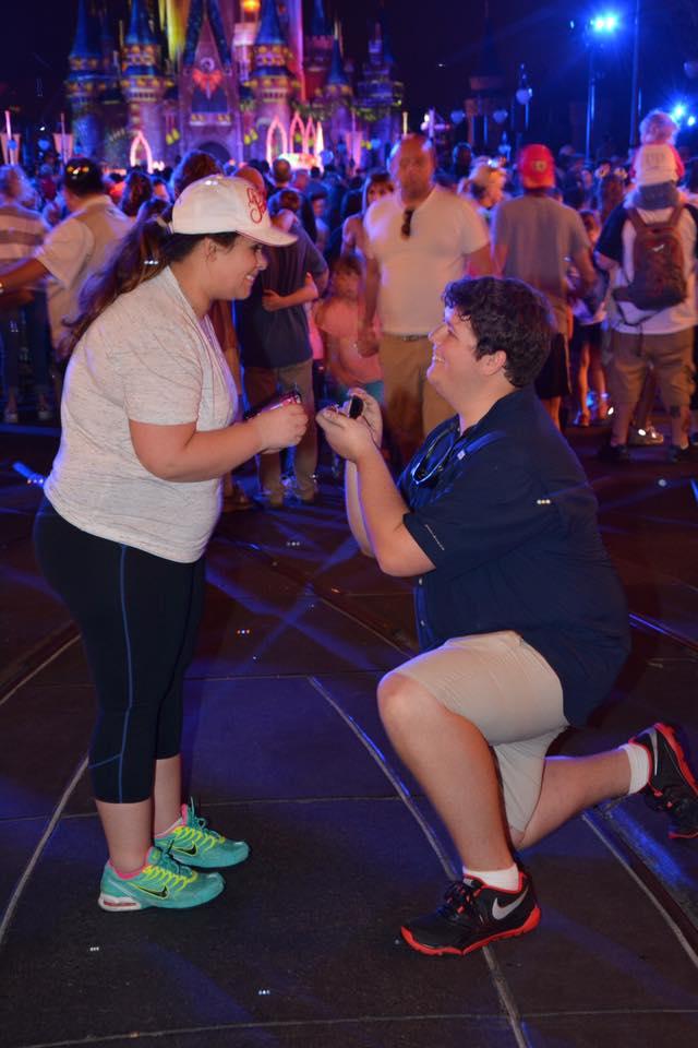 Kristen and Dylan's Engagement in CInderella Castle at Disney World