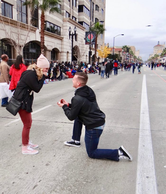 Emma Van and Chandler's Engagement in Rose Parade 2017