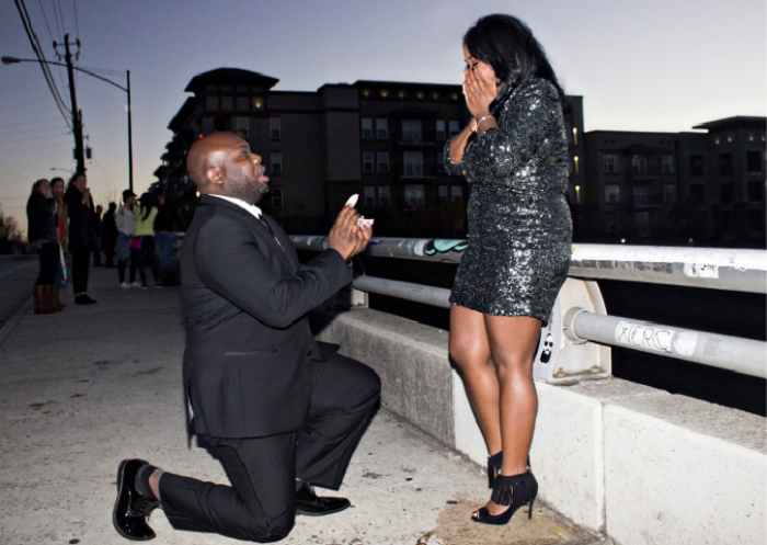 Ashley's Proposal in Atlanta, GA - Jackson Stree Bridge