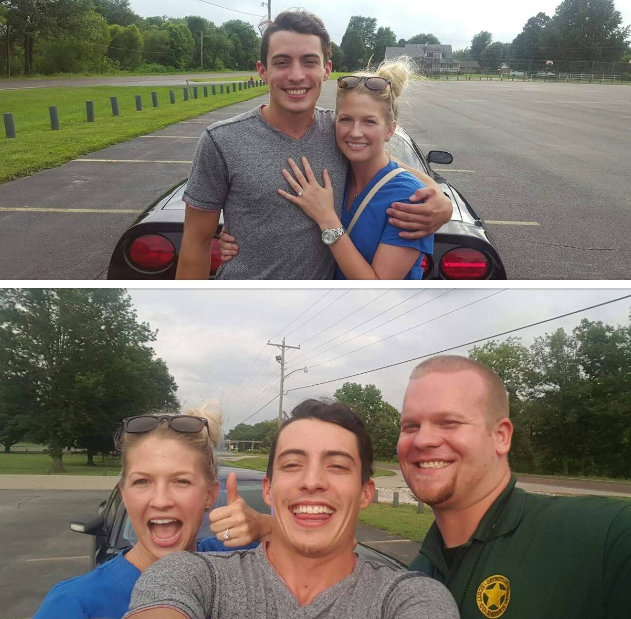 Samantha and Austin's Engagement in Scott City, MO school parking lot. Video proposal with cop engaged in epic