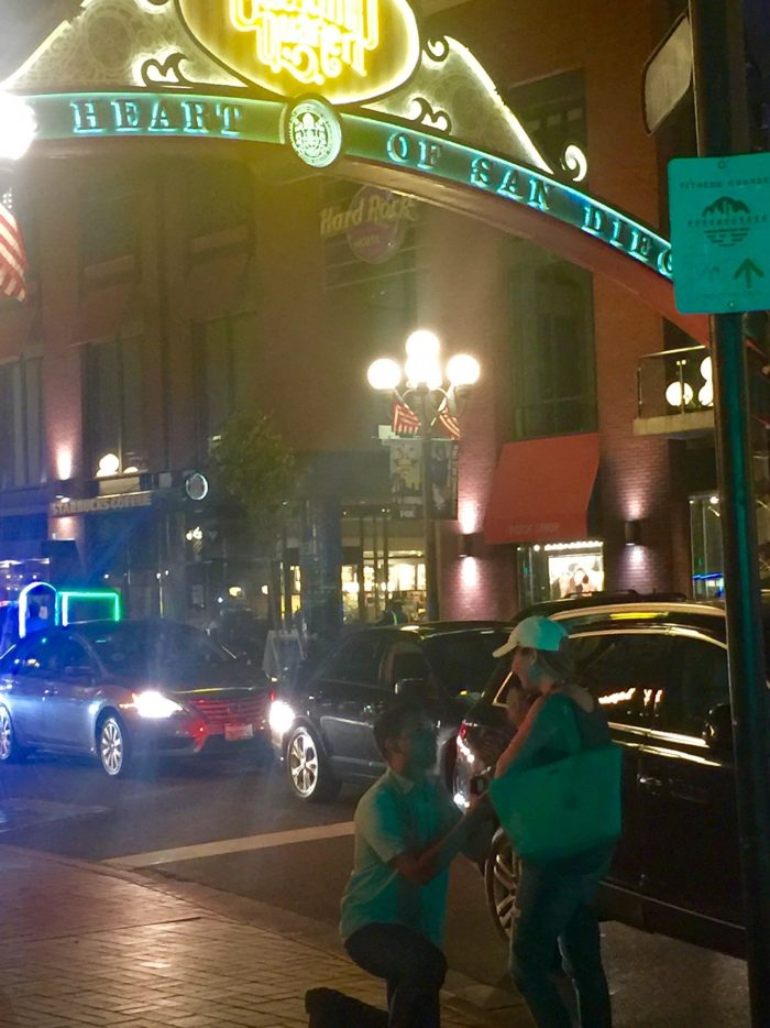 Proposal Ideas Under the Gaslamp Sign in the heart of San Diego