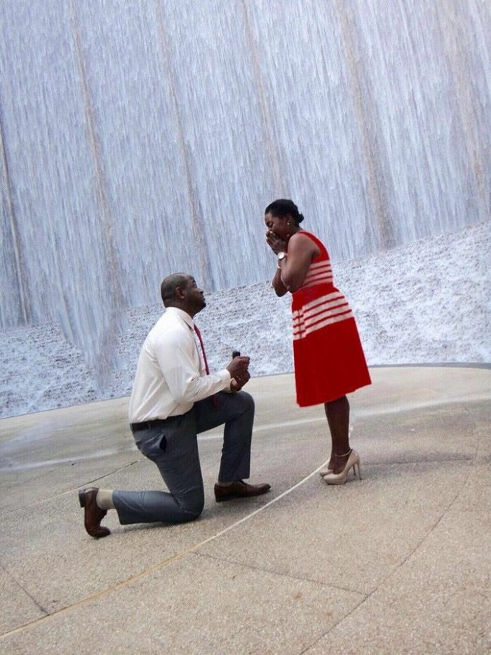 Paulmarie's Proposal in The Waterwall in Houston, Texas