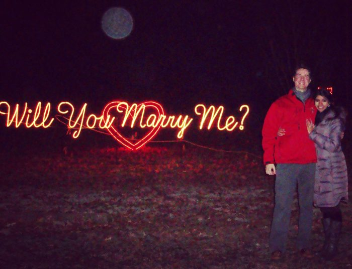 Marriage Proposal Ideas in Thd Winter Wonderland Light Display in St. Louis, Missouri