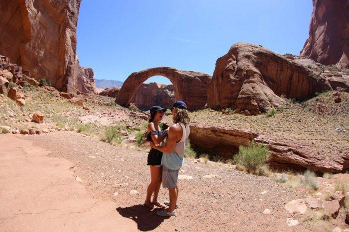 Lauren's Proposal in Rainbow Bridge, Lake Powell, Arizona