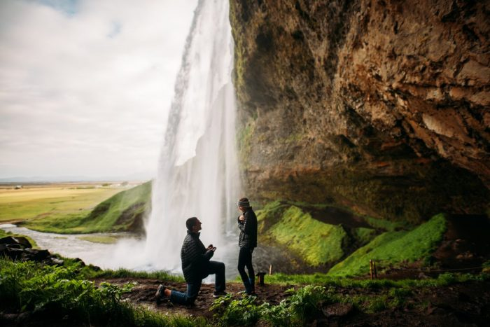 Marriage Proposal Ideas in Seljalandsfoss, Iceland