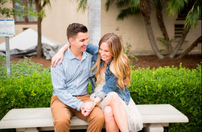 maggie and andrew's Engagement in Under the Gaslamp Sign in the heart of San Diego